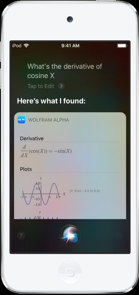 """Uma resposta para a pergunta """"Qual é a derivada do cosseno de x?"""" A tela mostra, de baixo para cima, uma equação, um gráfico e informações adicionais."""