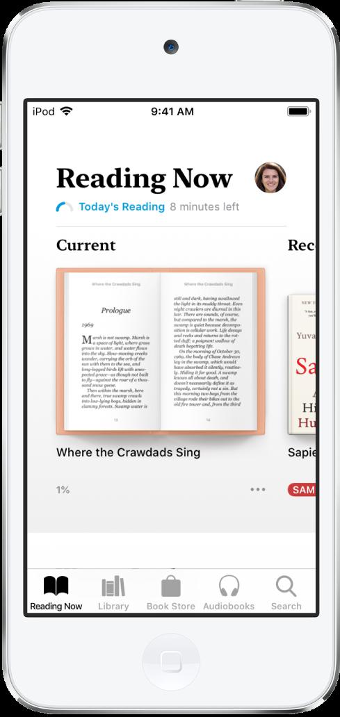 Tela Lendo Agora no app Livros. Na parte inferior da tela, da esquerda para a direita, as abas Lendo Agora, Biblioteca, Loja de Livros, Audiolivros e Buscar.