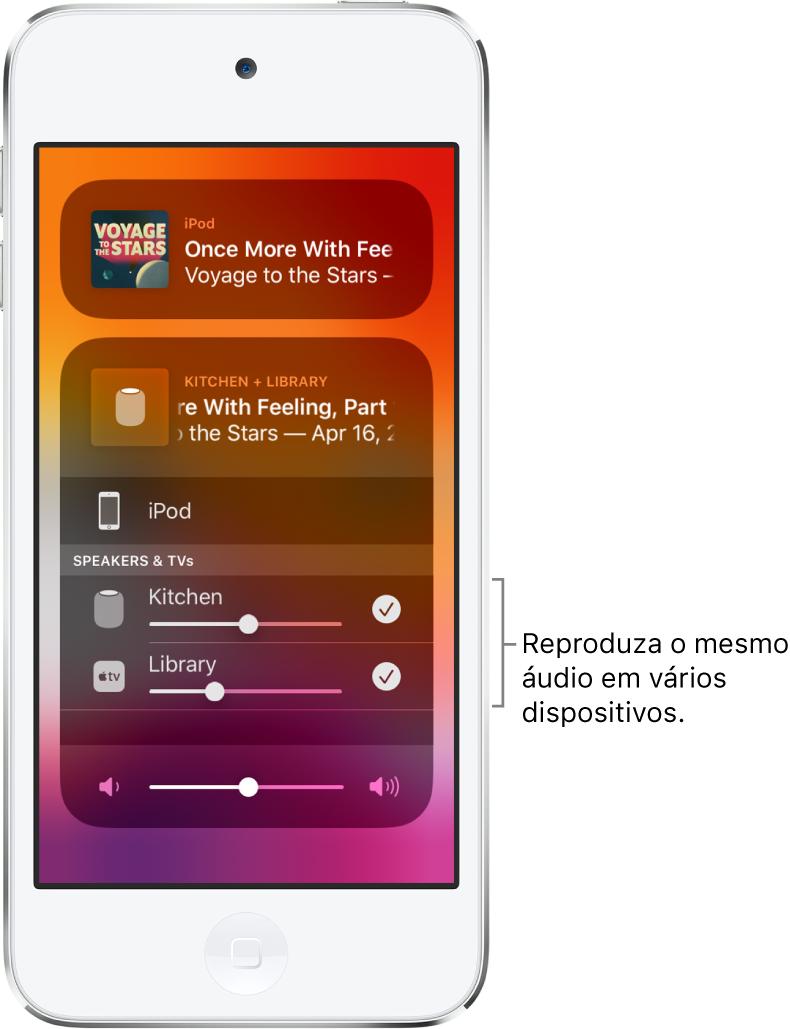 Tela do iPodtouch mostrando HomePod e AppleTV como os destinos de áudio selecionados.
