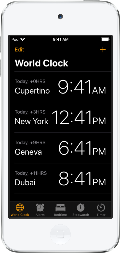 A aba Relógio, mostrando a hora em várias cidades. Toque em Editar na parte superior esquerda para ordenar os relógios. Toque no botão Adicionar na parte superior direita para adicionar outros relógios. Os botões Alarme, Hora de Dormir, Cronômetro e Timer ao longo da parte inferior.