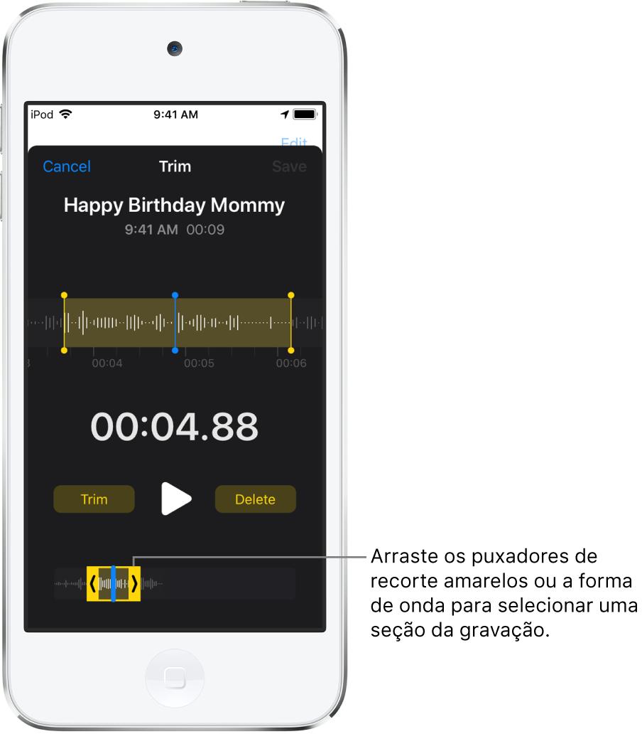 Gravação sendo recortada com os puxadores de recorte delimitando um trecho da forma de onda do áudio na parte inferior da tela. O botão Reproduzir e um timer de gravação aparecem acima da forma de onda. Os puxadores de recorte estão abaixo do botão Reproduzir.