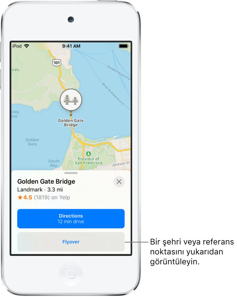 Golden Gate Köprüsü için bilgi kartı, Yol Tarifi düğmesinin altında bir Flyover düğmesi gösteriyor.