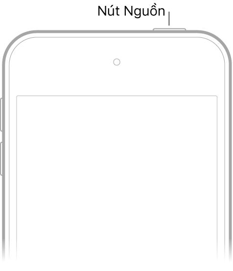 Mặt trước của iPodtouch với nút Nguồn ở cạnh trên cùng bên phải.