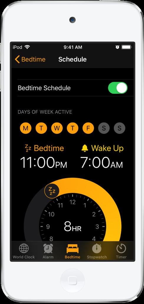 Màn hình Giờ đi ngủ, đang hiển thị giờ ngủ bắt đầu từ 11 giờ tối và giờ thức dậy lúc 7 giờ sáng.