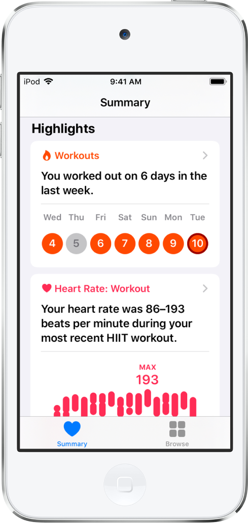 Một màn hình Tóm tắt trong Sức khỏe đang hiển thị số lượng bài tập trong tuần trước và khoảng nhịp tim cho bài tập gần đây nhất dưới dạng các điểm nổi bật.