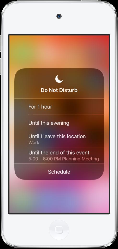 選擇「勿擾模式」開啟時間的畫面,選項為「一小時」、「直到今天晚上」、「直到我離開此位置」和「直到此行程結束」。