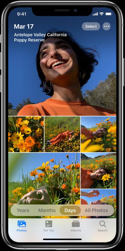 Библиотеката снимки, показана в изглед Days (Дни). Екранът е запълнен с умалени изображения на снимки. Горе вляво на екрана са датата и мястото, където са били направени снимките. Горе вдясно са бутоните Select (Избор) и More Options (Повече опции). Докоснете Select (Избор), за да споделяте снимки и More Options (Повече опции), за да видите детайли за снимката. Под умалените изображения са опциите са преглед на фото библиотеката по Years (Години), Months (Месеци), Days (Дни) и All Photos (Всички снимки). В долния край са етикетите Photos (Снимки), For You (За теб), Albums (Албуми) и Search (Търсене).
