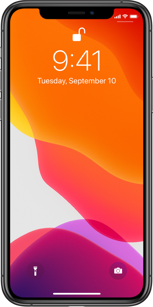 The Lock screen with a bar at the bottom to indicate that you can swipe up from the bottom edge.