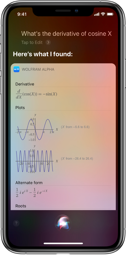 """A response to the question """"What's the derivative of cosine x?"""" The screen shows, from top to bottom, an equation, two graphs, and additional information."""