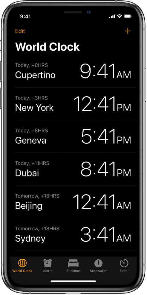 The World Clock tab, showing the time in various cities. Tap Edit in the upper left to arrange the clocks. Tap the Add button in the upper right to add more. Alarm, Bedtime, Stopwatch, and Timer buttons are along the bottom.