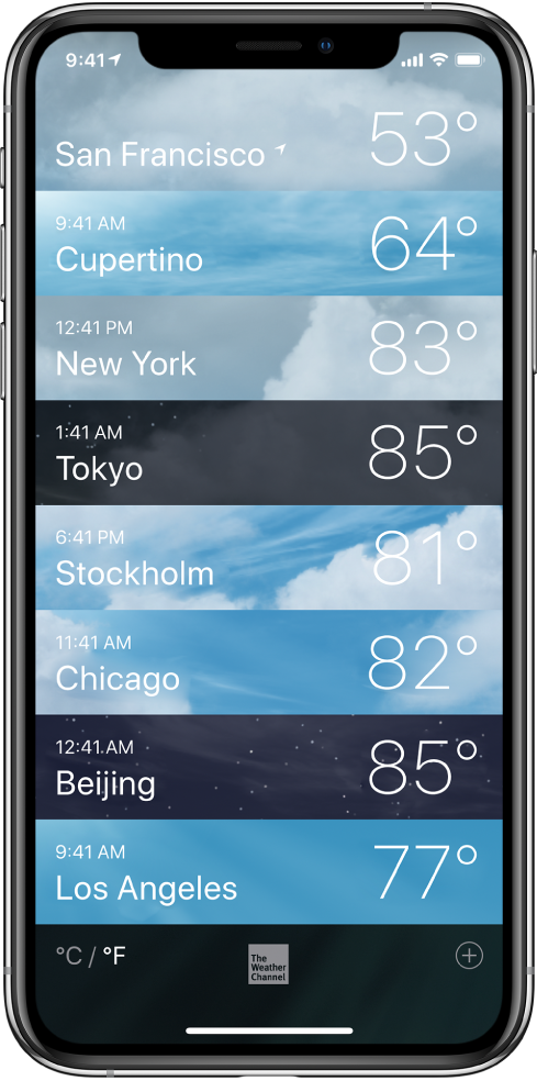A list of cities showing the time and current temperature for each.
