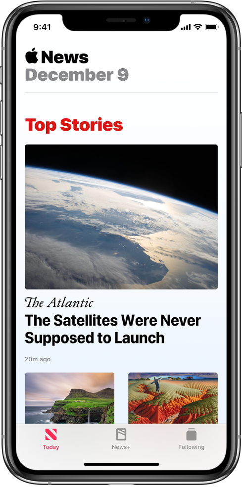 The Today screen showing three top stories. Each story is accompanied by an image. A publication name and headline appears under the first story. At the bottom of the screen are the Today, News+, and Following tabs.