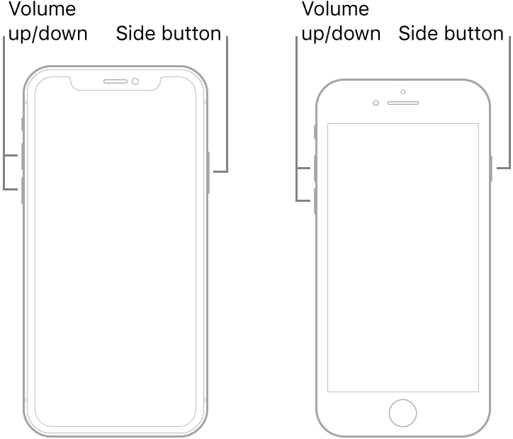 Illustrations of two of iPhone models with the screens facing up. The leftmost model does not have a Home button, while the rightmost model has a Home button near the bottom of the device. For both models, volume up and volume down buttons are shown on the left sides of the devices, and a side button is shown on the right sides.