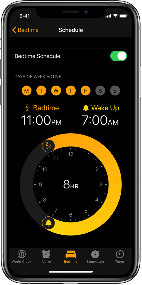 The Bedtime screen, showing the sleep time starting at 11 p.m. and a wake time of 7 a.m.