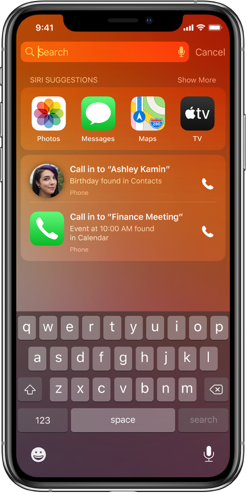 "The Lock screen on iPhone. The apps Photos, Messages, Maps, and TV appear in a row labeled ""Siri Suggestions."" Below the app suggestions are two suggestions to make phone calls. One suggestion is to call Ashley Kamin, whose birthday is found in Contacts, and the other suggestion is to call in to Finance Meeting, which is an event found in Calendar."