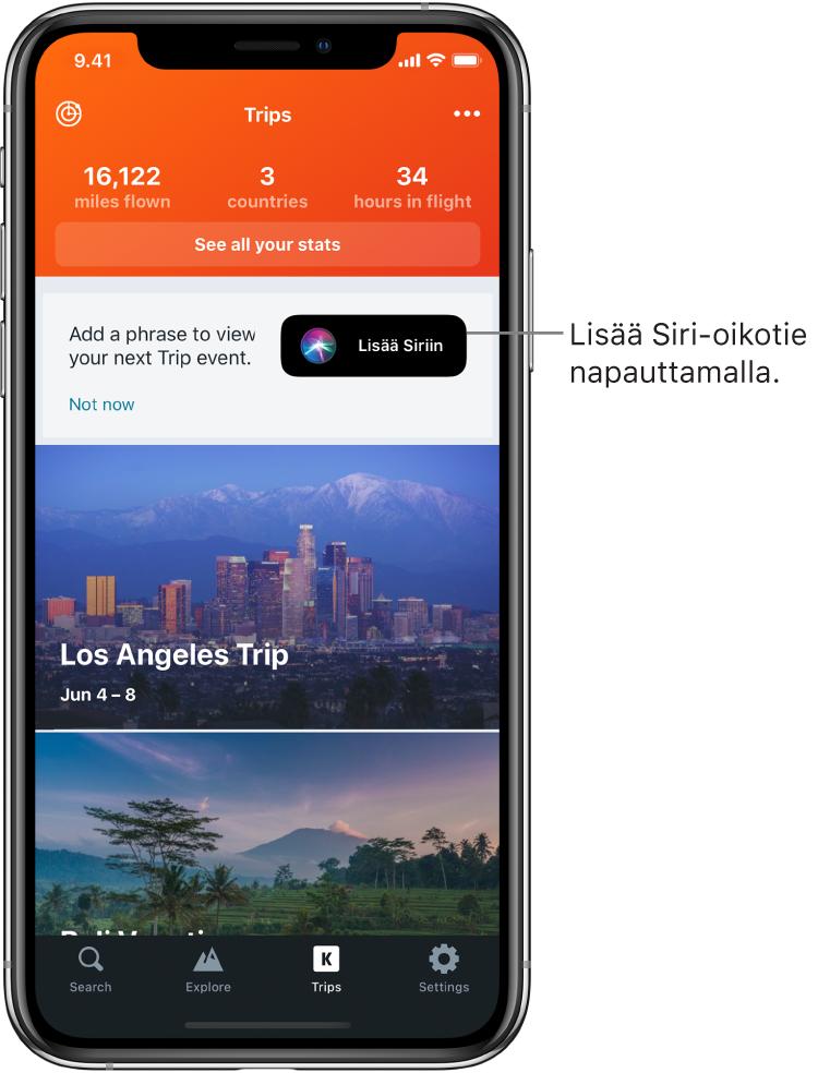Matka-apin näyttö. Lisää Siriin -painike näkyy oikealla puolella tekstiä, jossa kehotetaan lisäämään lause seuraavan matkan katsomiseksi.
