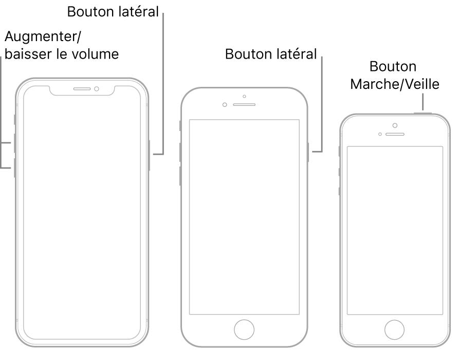 Illustrations de trois types de modèles d'iPhone, avec leur écran vers le haut. L'illustration située la plus à gauche affiche le bouton d'augmentation et de diminution du volume. Le bouton latéral s'affiche à droite. L'illustration centrale affiche le bouton latéral à droite de l'appareil. L'illustration la plus à droite affiche le bouton Marche/Veille en haut de l'appareil.