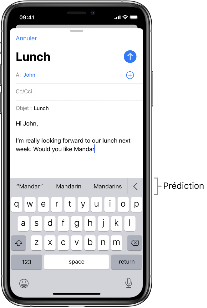 Un message Mail montrant les premiers mots d'un nouveau message, avec des suggestions pour compléter le mot suivant.