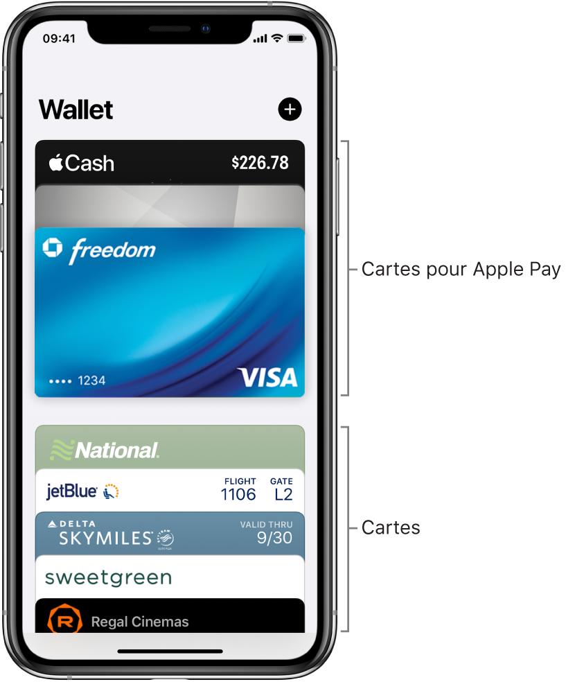 L'écran Wallet affichant plusieurs cartes bancaires et d'autres cartes.