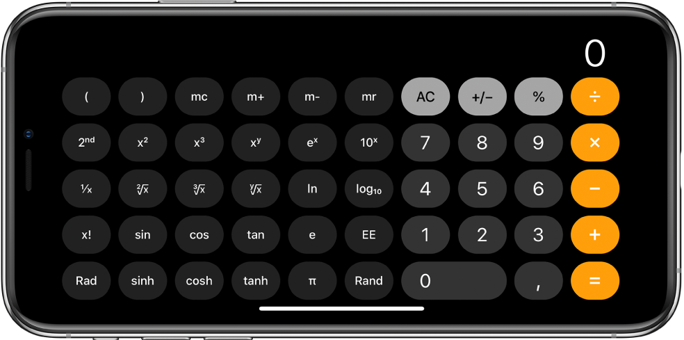 iPhone in orientamento orizzontale che mostra la calcolatrice scientifica con funzioni esponenziali, logaritmiche e trigonometriche.