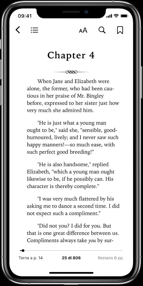 La pagina di un libro aperta nell'app Libri con pulsanti, nella parte alta dello schermo, da sinistra a destra, per chiudere il libro, visualizzare l'indice, modificare il testo, cercare e creare segnalibri. Nella parte inferiore dello schermo è presente un cursore.