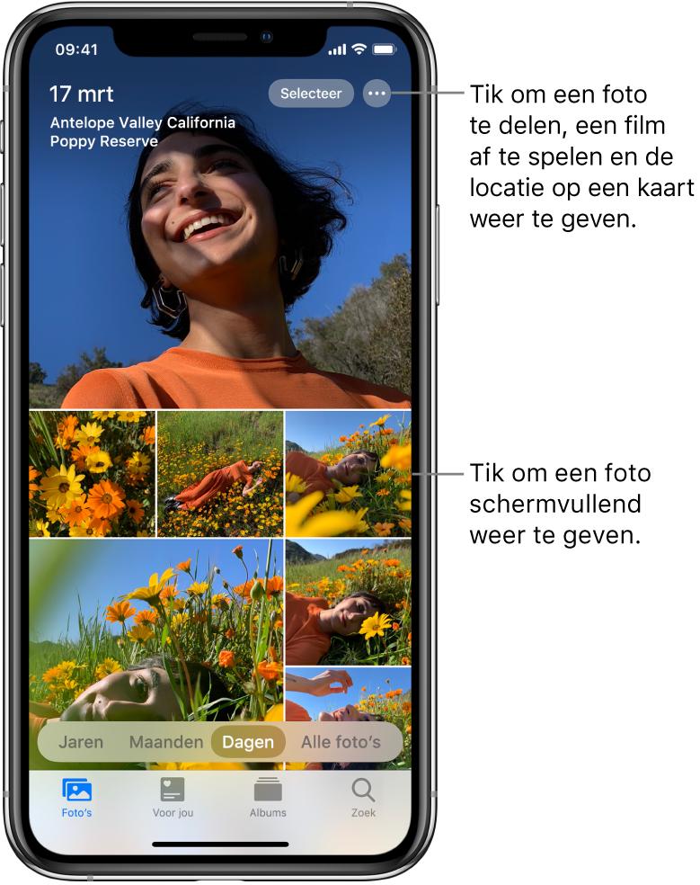 De fotobibliotheek in de weergave 'Dagen'. Een selectie van fotominiaturen vult het scherm. Linksboven in het scherm is te zien op welke datum en welke locatie de foto's zijn genomen. Rechtsboven staan de knoppen 'Selecteer' en 'Meer opties' om foto's te delen en details ervan te bekijken. Onder de miniaturen staan opties om de fotobibliotheek in de weergaven 'Jaren', 'Maanden', 'Dagen' en 'Alle' te zien. Onder in het scherm zie je de tabbladen 'Foto's', 'Voor jou', 'Albums' en 'Zoek'.