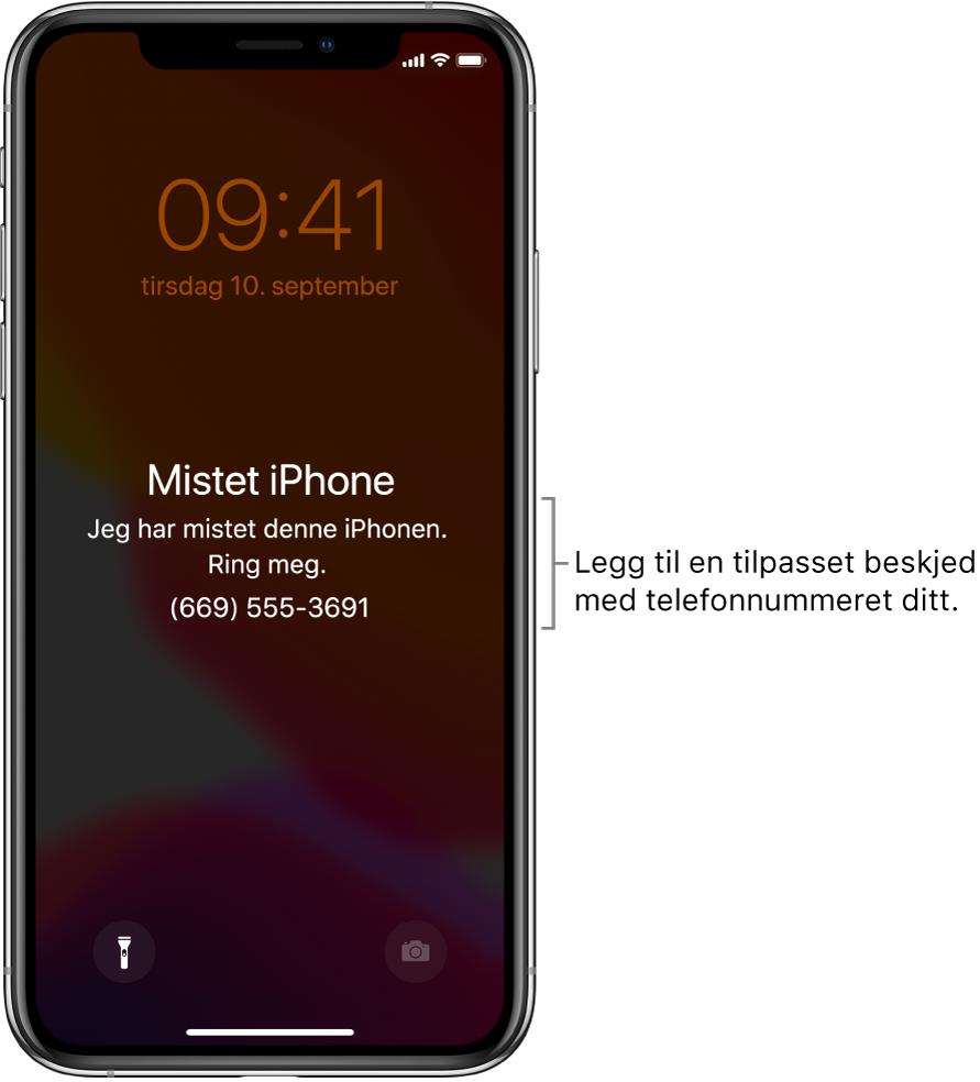 Låst skjerm på iPhone med meldingen: «Mistet iPhone Jeg har mistet denne iPhonen. Ring meg. (669) 555-3691.» Du kan legge til en tilpasset melding med telefonnummeret ditt.