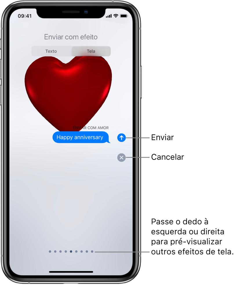 Pré-visualização de uma mensagem mostrando um efeito de tela cheia com um coração vermelho.