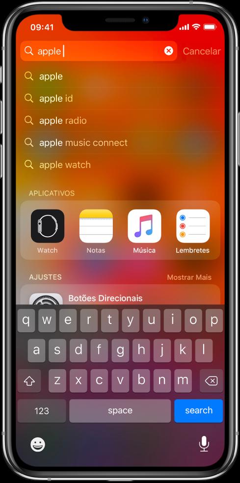"""Tela mostrando uma no iPhone. Na parte superior encontra-se o campo de busca com o texto """"apple"""" e, abaixo, os resultados encontrados do texto procurado na busca."""