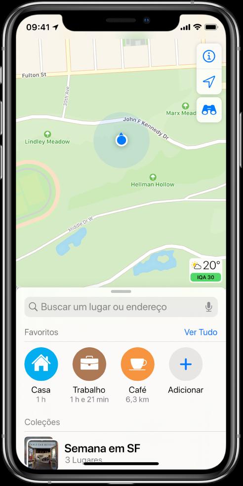 Mapa mostrando a localização atual em um parque da cidade.