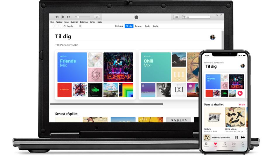 En iPhone og pc med Apple Music Til dig.