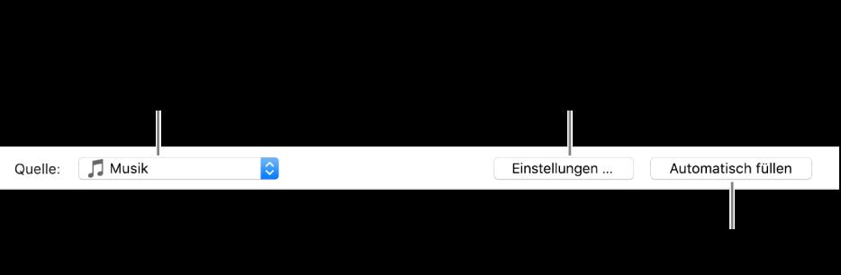 """Die Option """"Automatisch füllen"""" unten auf der Registerkarte """"Musik"""". Ganz links befindet sich das Popupmenü """"Automatisch füllen"""", in dem du auswählen kannst, ob Titel von einer Playlist oder von der gesamten Mediathek hinzugefügt werden sollen. Ganz rechts sind zwei Schaltflächen: die Schaltfläche """"Einstellungen"""" zum Ändern der verschiedenen Optionen für das automatische Füllen und die Schaltfläche """"Automatisch füllen"""". Wenn du auf """"Automatisch füllen"""" klickst, wird dein Gerät mit den Titeln gefüllt, die den Kriterien entsprechen."""