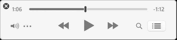 Im verkleinerten iTunes MiniPlayer werden nur die Steuerelemente (und nicht das Albumcover) angezeigt.