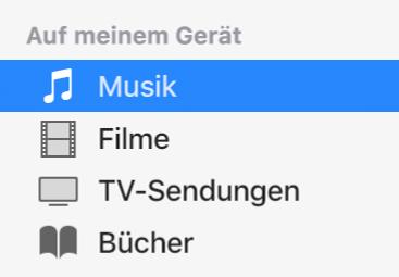 """Der Bereich """"Auf meinem Gerät"""" in der Seitenleiste mit ausgewählter Option """"Musik""""."""
