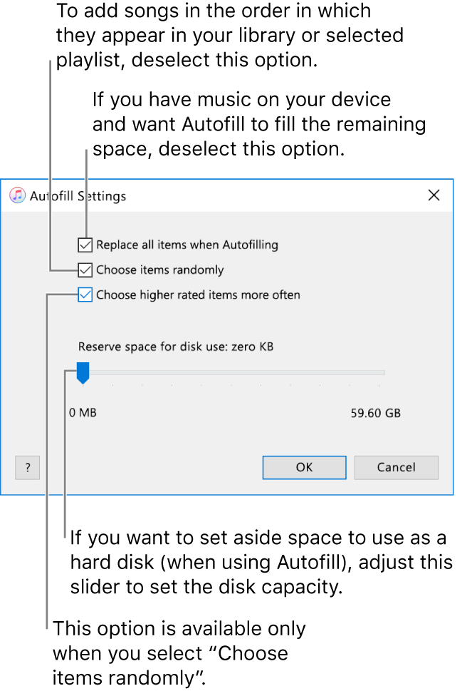 """The Autofill Settings dialogue showing four options, from top to bottom. If you have music on your device and want Autofill to fill the remaining space, deselect the option """"Replace all items when Autofilling"""". To add songs in the order in which they appear in your library or selected playlist, deselect the option """"Choose items randomly"""". The next option, """"Choose higher rated items more often"""", is available only when you select the option """"Choose items randomly"""". If you want to set aside space to use as a hard disk, adjust the slider to set the disk capacity."""