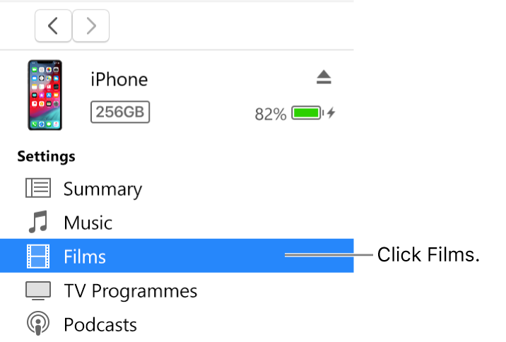 The Device window, with Films selected in the sidebar on the left.