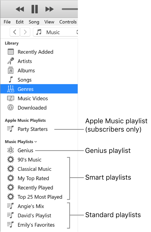 The iTunes sidebar showing the various types of playlists: Apple Music (subscribers only), Genius, Smart, and standard playlists.