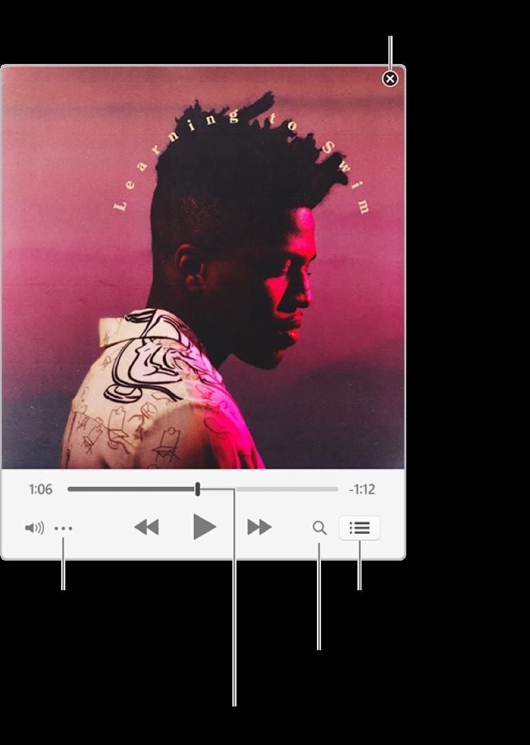 """Minirreproductor expandido con los controles de la canción que se está reproduciendo. En la esquina superior derecha se encuentra el botón de cerrar, que sirve para pasar a la ventana completa de iTunes. En la parte inferior de la ventana hay un regulador, que puedes arrastrar para ir a una sección diferente de la canción. Debajo del regulador, a la izquierda, se encuentra el botón Más, que te permite seleccionar opciones de vista, entre otras, para la canción que se está reproduciendo. En el extremo derecho, debajo del regulador, hay dos botones: la lupa, que permite realizar búsquedas en la biblioteca musical, y la lista """"A continuación"""", en la que se muestra qué se va a reproducir a continuación."""