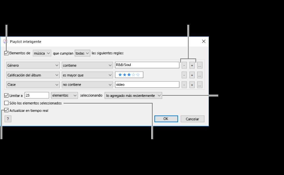 La ventana playlists inteligentes: en la esquina superior izquierda, selecciona Cumplir y especifica los criterios de la playlist (por ejemplo, un género o calificación). Continúa agregando o eliminando reglas haciendo clic en los botones Agregar o Eliminar en la esquina superior derecha. Selecciona varias opciones en el área inferior de la ventana, por ejemplo, puedes limitar el tamaño o la duración de la playlist, incluir sólo las canciones seleccionadas o hacer que iTunes actualice la playlist como elementos en tu cambio de biblioteca.