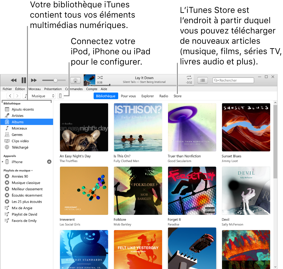 Présentation de la fenêtre iTunes: La fenêtre iTunes se compose de deux sous-fenêtres. La barre latérale Bibliothèque, qui contient tous vos contenus multimédias numériques, se trouve sur la gauche. Sur la droite, dans la plus vaste zone de contenus, vous pouvez voir une sélection correspondant à vos intérêts, par exemple: visiter votre bibliothèque ou votre page Pour vous, explorer les nouvelles musiques et vidéos iTunes, ou visiter l'iTunesStore pour télécharger de nouveaux morceaux, films, sériesTV, livres audio, etc. En haut à droite de la barre latérale Bibliothèque se trouve le bouton Appareil, qui s'affiche lorsque votre iPhone, iPad ou iPod est connecté à votre PC.