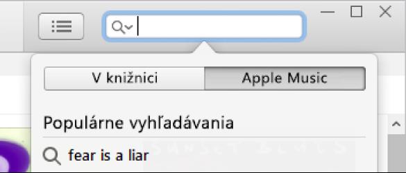 Vyhľadávacie pole na vyhľadávanie vApple Music.