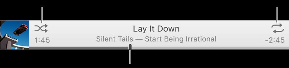 ป้ายประกาศที่มีเพลงที่เล่นอยู่ ปุ่มสุ่ม จะอยู่มุมด้านซ้ายบน ปุ่มเล่นซ้ำ จะอยู่มุมด้านขวาบน ลากแถบเลื่อนเพื่อไปยังส่วนอื่นของเพลง
