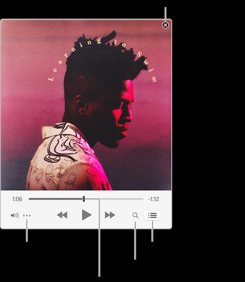 展開的迷你播放器顯示播放中歌曲的控制項目。右上角是關閉按鈕,用於切換至完整 iTunes 視窗。視窗底部的滑桿可讓您拖移來前往歌曲的不同段落。滑桿下方左側是「更多」按鈕,您可以選擇顯示方式選項和播放中歌曲的其他選項。滑桿下方最右側有兩個按鈕:放大鏡可用來搜尋音樂資料庫,「待播清單」清單可用來查看接著播放的歌曲。