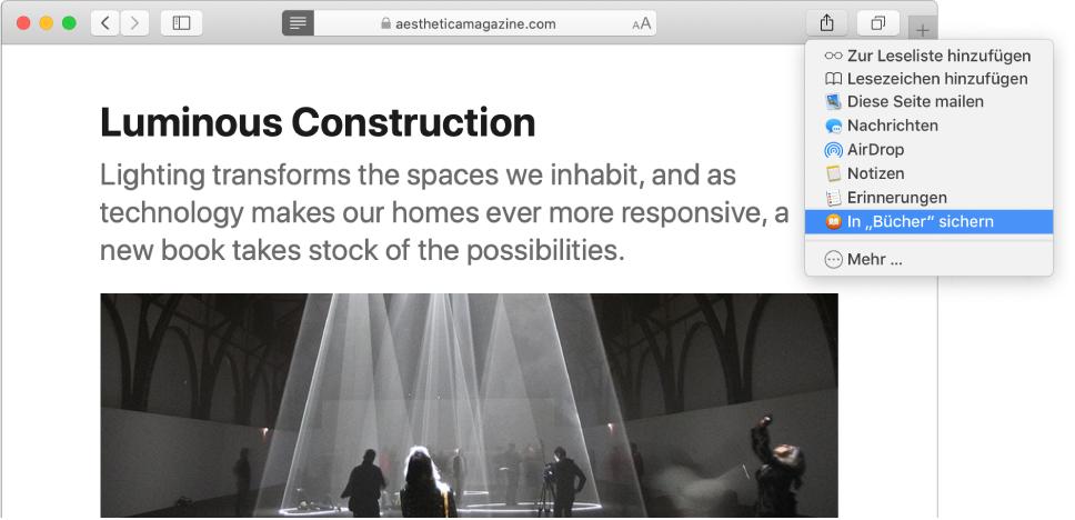 """Auf einer Webseite ist das Einblendmenü """"Teilen"""" geöffnet und """"In """"Bücher"""" sichern"""" ist ausgewählt."""