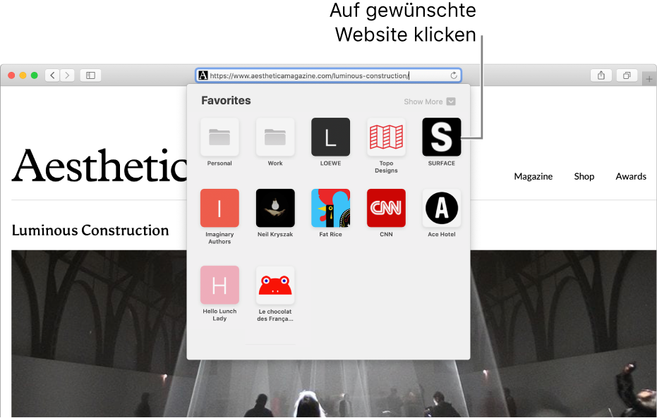 Das Adress- und Suchfeld in Safari und darunter die Symbole der als Favoriten ausgewählten Websites.