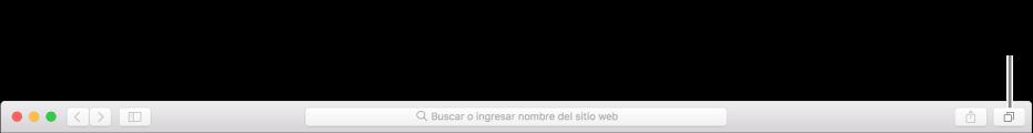 """La barra de herramientas, mostrando el botón """"Mostrar todas las pestañas""""."""