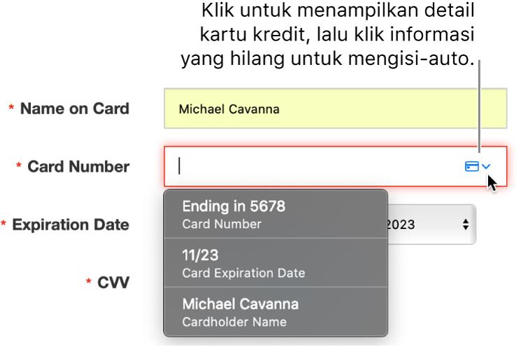 Info kartu kredit yang kekurangan detail, dengan isi auto menampilkan pilihan yang tersedia.