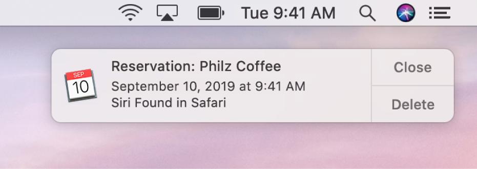 Un suggerimento di Siri per aggiungere un evento da Safari a Calendario.