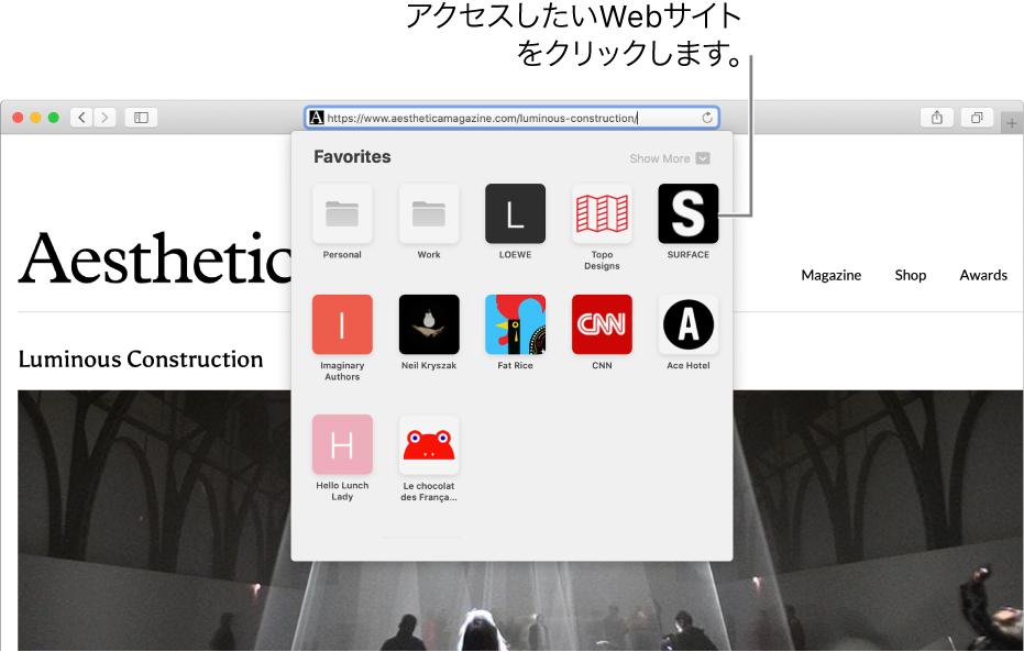 Safariの「アドレスと検索」フィールド。その下にお気に入りのWebサイトのアイコンがあります。