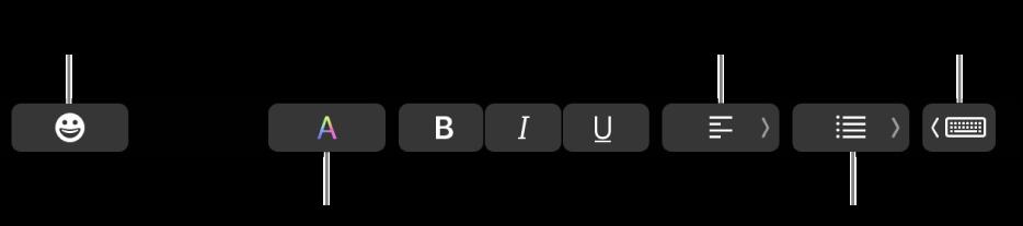 De TouchBar met (van links naar rechts) de volgende knoppen voor de app Mail: emoji, kleuren, vet, cursief, onderstrepen, uitlijning, lijsten en suggesties tijdens typen.